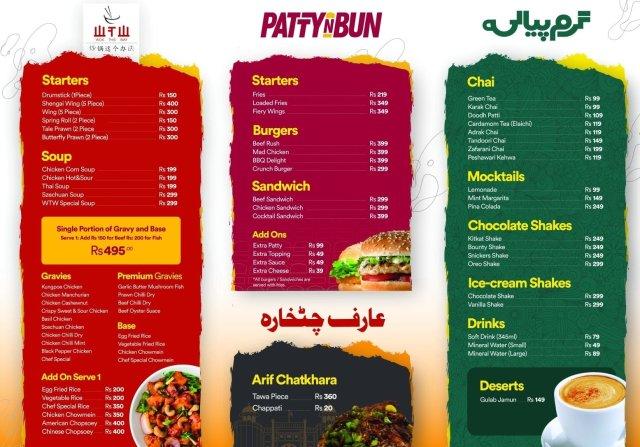 FoodYard Johar Town Lahore Menu
