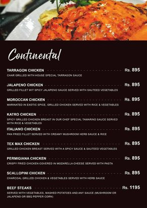 City Cafe & Grill Menu Price continental