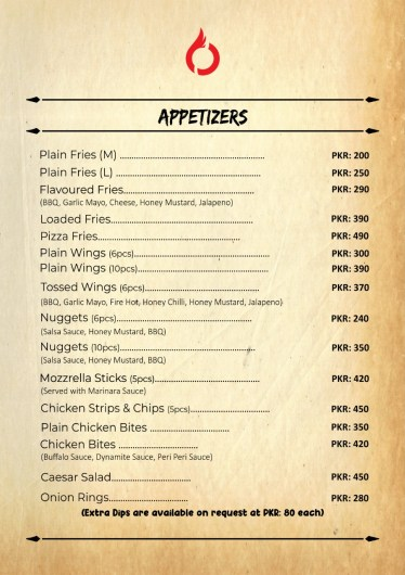 Cafe Ostyria Mall Road Lahore Menu