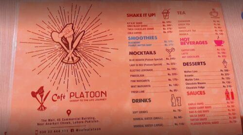 Cafe Platoon Menu
