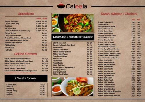 Cafeela Restaurant Menu Prices