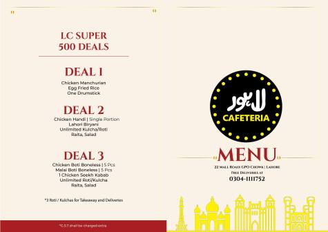 Lahore Cafeteria Mall Road Deals