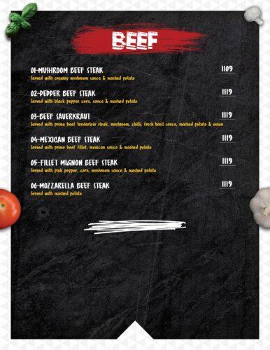 Masoom Café Menu Prices beef