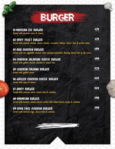 Masoom Café Menu Prices burger