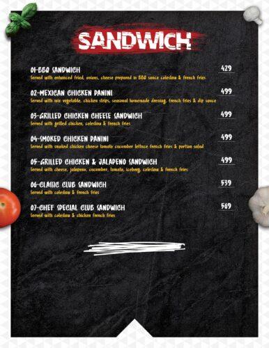 Masoom Café Menu Prices sandwich