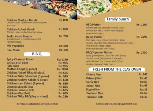 Sky Lounge Faisalabad BBQ Menu