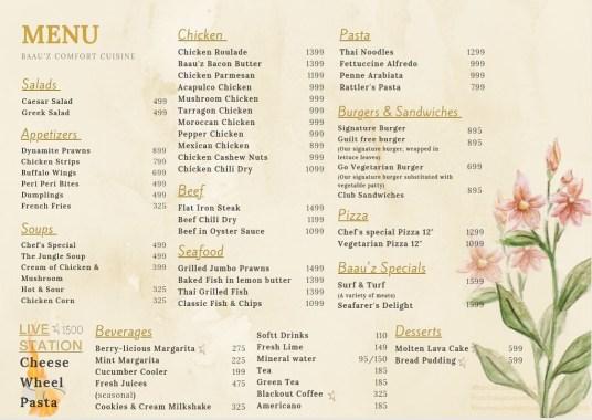 Baauz Cafe Islamabad Menu
