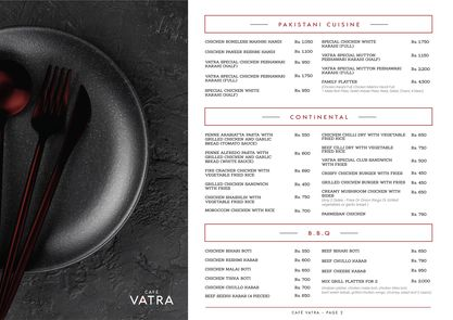 Cafe Vatra Menu Card