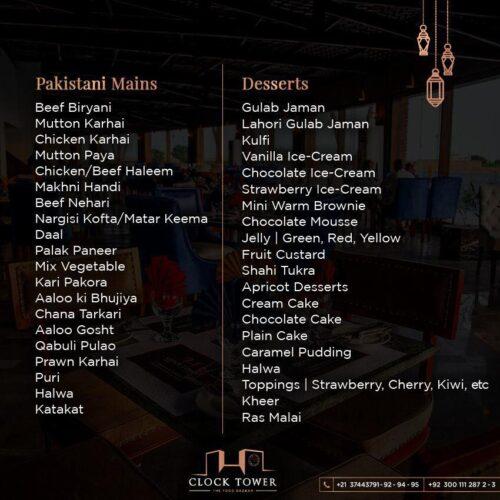 Clock tower Ramadan Buffet menu prices