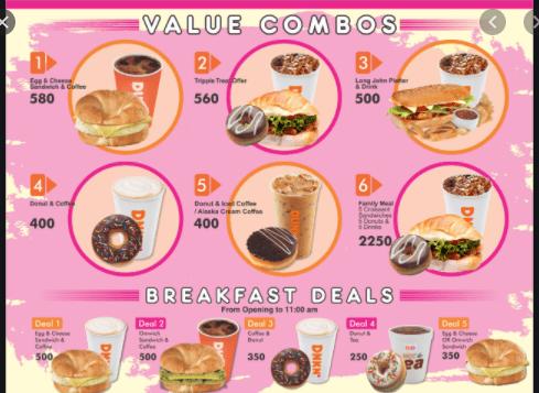 Dunkin Dounuts Menu Prices