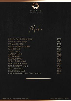 Miyako Pan Asian Menu card prices
