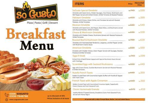 So Gusto Breakfast menu
