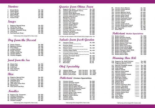 The grand Regency menu