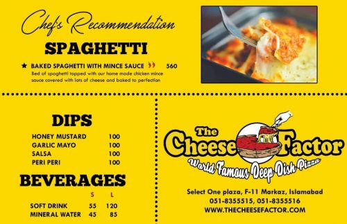 The Cheese factor menu beverages