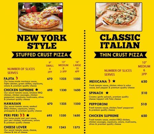 The Cheese factor menu card