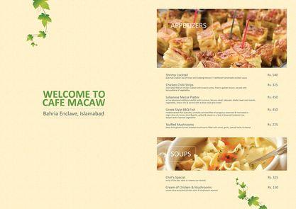 Cafe Macaw Bahria Enclave Menu card