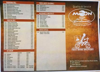Moon BBQ menu