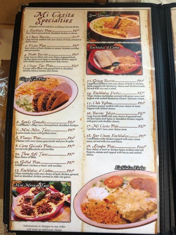 American Express 800 Number >> Mi Casita Mexican Food Restaurant- Menu- Waco - Menutex - Central Texas