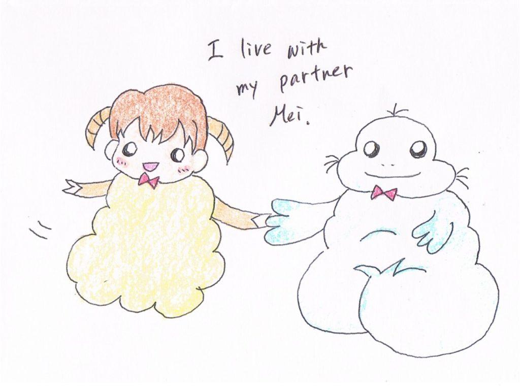 I live with my partner Mai.