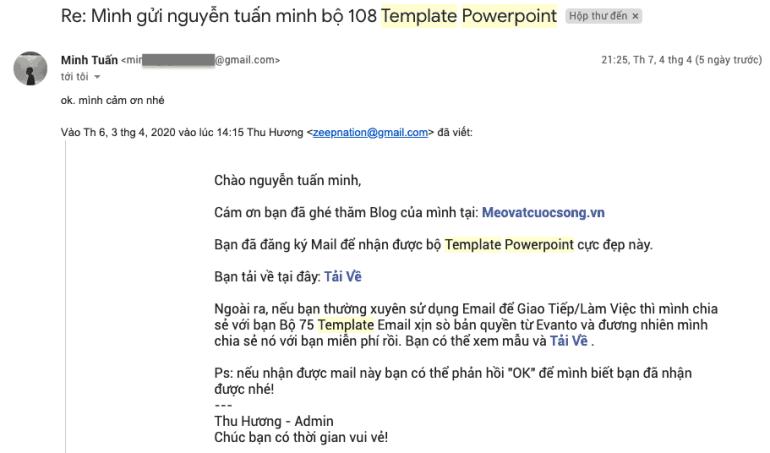Phản hồi khách mua Powerpoint