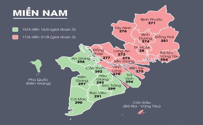 Bảng mã vùng điện thoại cố định miền bắc