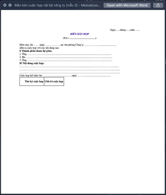 Biên bản họp nội bộ công ty mẫu 3