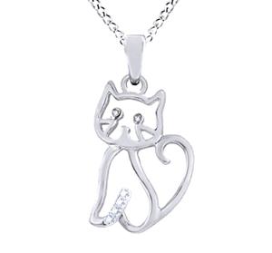diamond cat pendant necklace