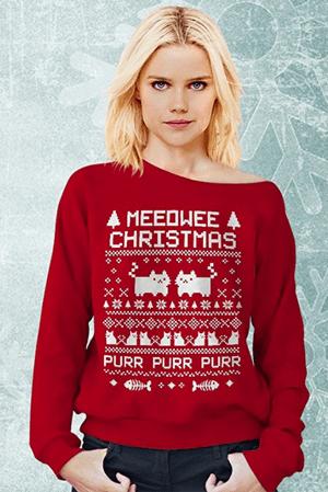 cat christmas sweatshirt women