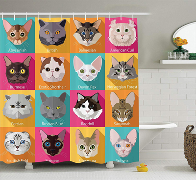 cat shower curtains for people who are