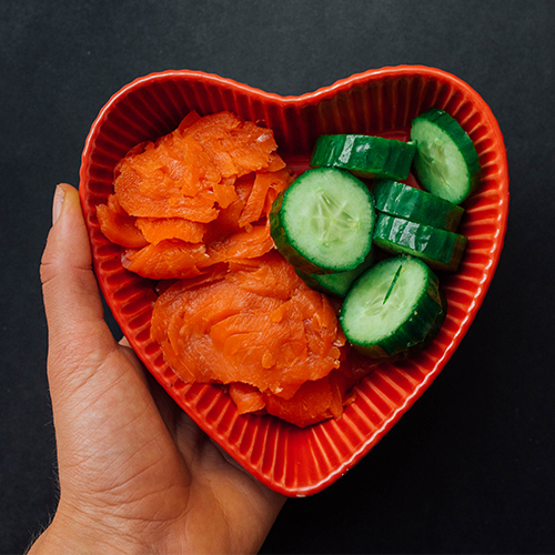 Healthy snack ideas - smoked salmon and cucumber