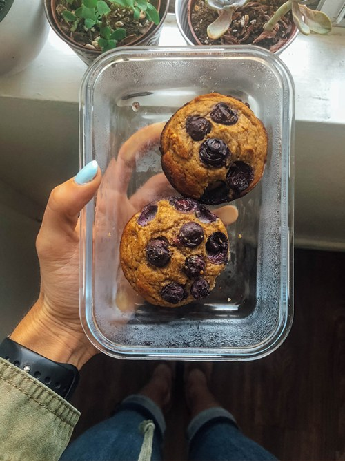 Paleo Blueberry Muffins - Muffins in Glass Tupperware