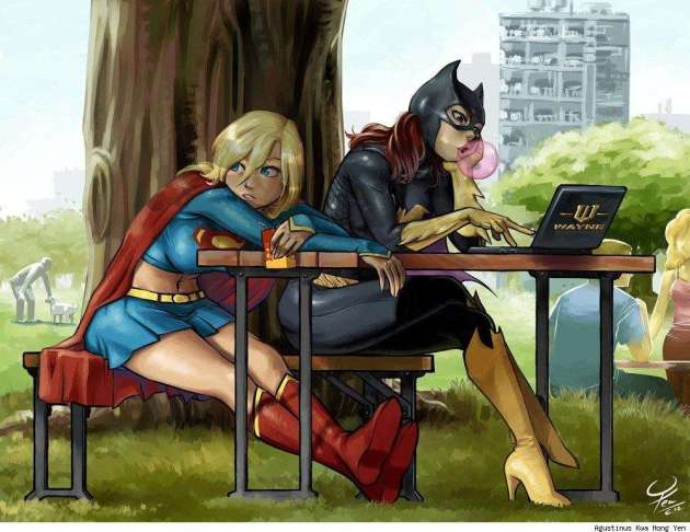 SuperGirl and Batgirl