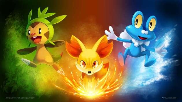 Новые стартовые покемоны: Chespin, Fennekin и Froakie