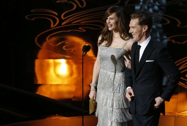 Actors Garner and Cumberbatch take the stage to present the Oscar for achievement in production design at the 86th Academy Awards in Hollywood