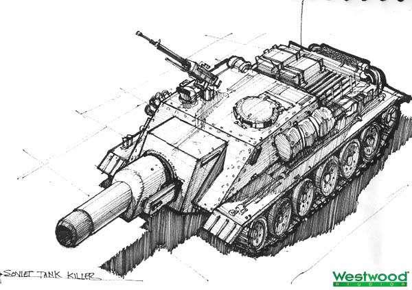 """Очевидно вдохновлённый танком ИС-2 советский """"Истребитель Танков"""" был выпилен из Red Alert 2 вместе со всеми намёками на самоходки. В игре его роль исполняет неповоротливая ракетная установка """"Фау-3"""""""