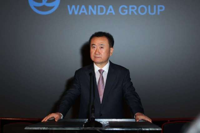 LOS ANGELES, CA - SEPTEMBER 04: Board Chairman and President of Dalian Wanda Group Co., Ltd Wang Jianlin speaks at the Wanda and AMC press conference at AMC 15 Theatres on September 4, 2012 in Los Angeles, California. (Photo by Joe Scarnici/WireImage)