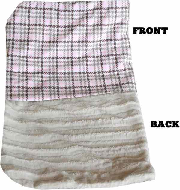 Plush Big Baby Blanket Pink Plaid