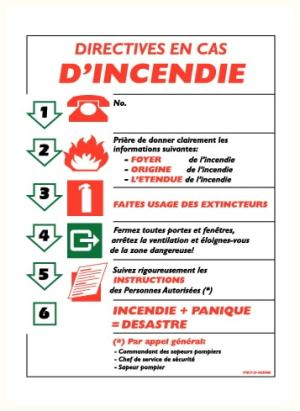 Directives en cas d'incendie