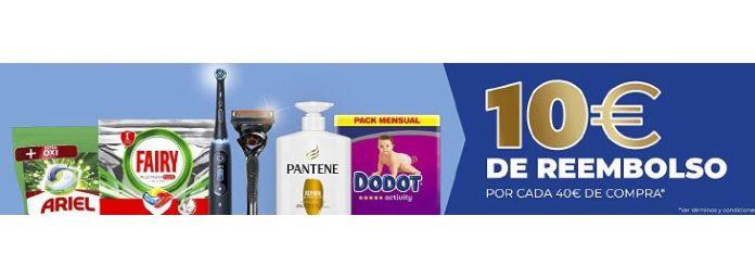 10 € de reembolso en Amazon por cada 40€ compra en productos de P&G