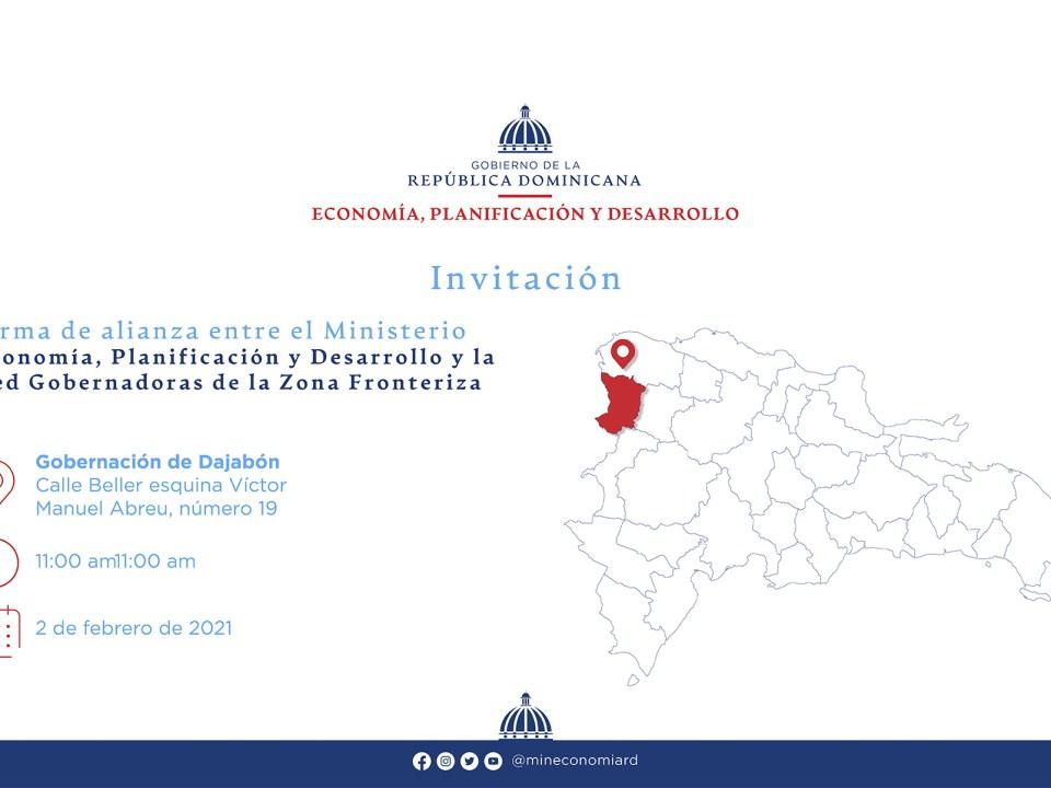 Firma de alianza entre el Ministerio de Economía, Planificación y Desarrollo y la Red Gobernadoras de la Zona Fronteriza
