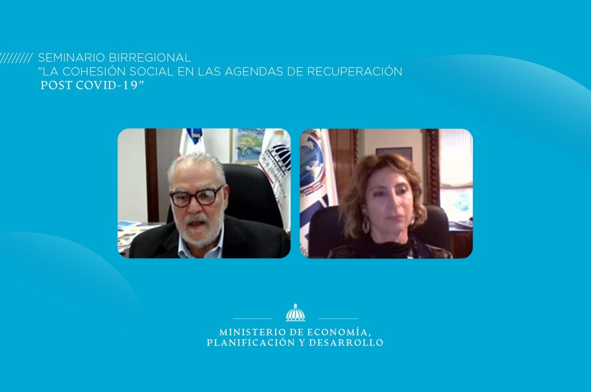 """El ministro de Economía, Planificación y Desarrollo, Miguel Ceara Hatton participa en el seminario birregional """"La cohesión social en las agendas de recuperación Post COVID19"""" en modalidad virtual."""