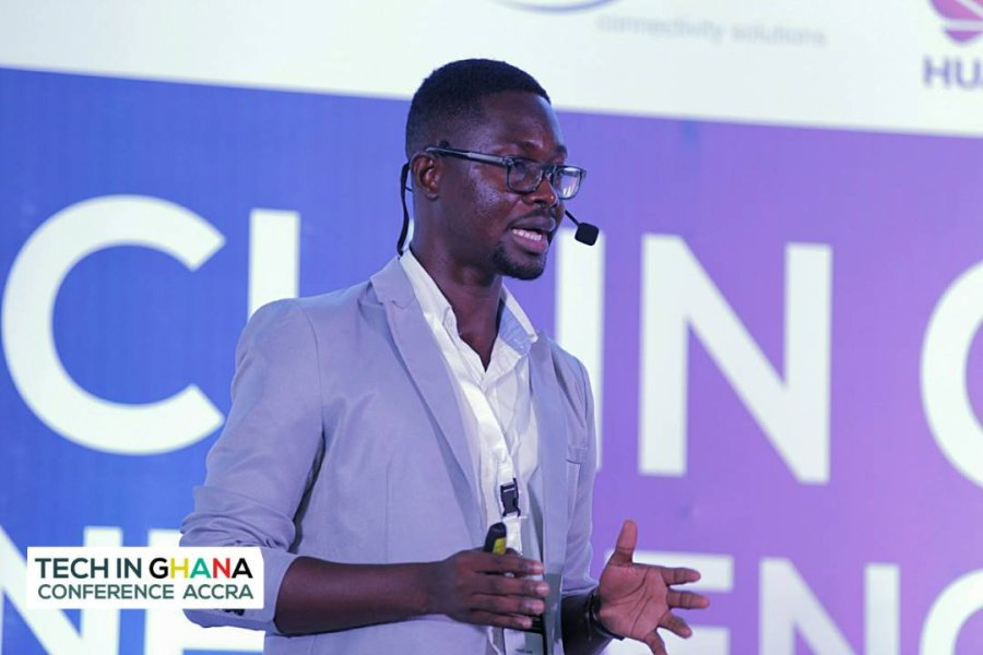Prince Anim of meQasa.com speaking at Tech In Ghana Conference Accra November 2017