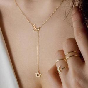 a09d015fa 2018 New Fashion Moon Star Pendant Choker Necklace Gold Color Zinc Alloy  Chain Collar Necklace For Women Party Jewelry Bijoux