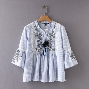 cb5c7e8b2a4984 2018 Fashion style Women summer shirts Floral embroidery 3 4 Sleeve shirts  blue stripe Blouses Casual Loose Tops cotton bow tie