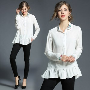 384c6d13088 2018 New Fashion Embroidery Chiffon Blouses Loose Women Ruffles Blouse  Office Work Wear Shirts Women Tops Plus Size White