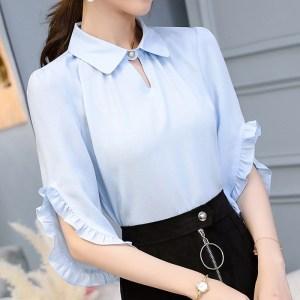 3b5cfa55861 New 2018 Summer Fashion Womens Casual Chiffon Shirt Shirts Butterfly Sleeve  Blusas Blouses Women Female Tops Blouse Plus Size