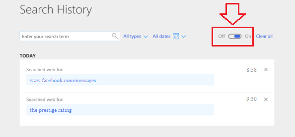Steps To Clear Bing Search History On Edge Browser