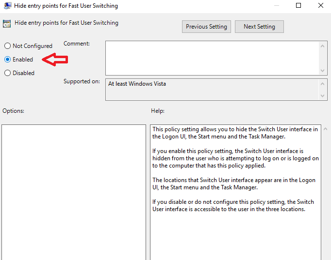 Enable Or Disable Fast User Switching
