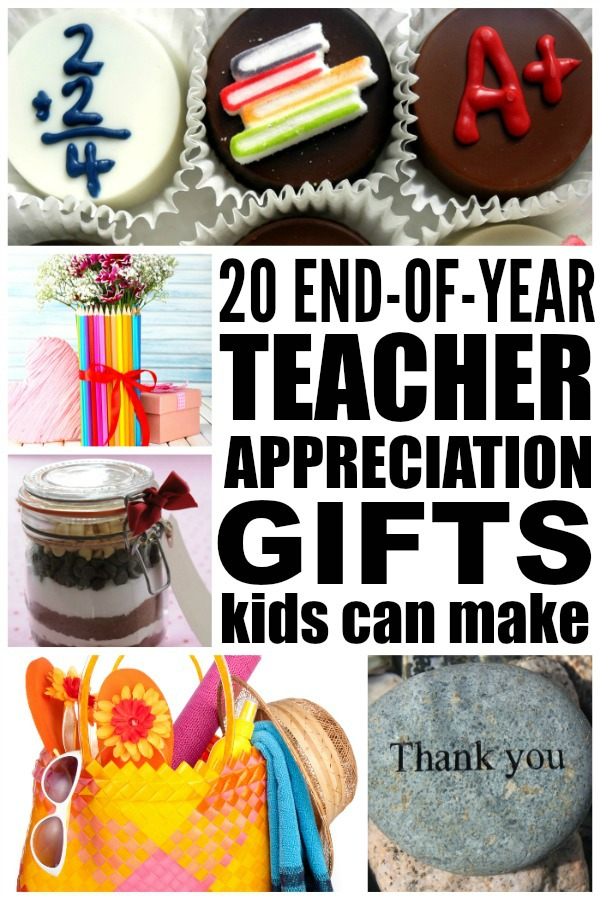 If you're looking for the perfect homemade end of year teacher gifts to make with your kids, this collection of 15 DIY teacher appreciation gifts is just what you need. Each of these gift ideas provide an excellent, personalized way to say thank you, and they make for fabulous teacher keepsakes. And if you're collecting money from the other parents for a combined gift, I highly recommend idea number 5 - what a tear-jerker!!