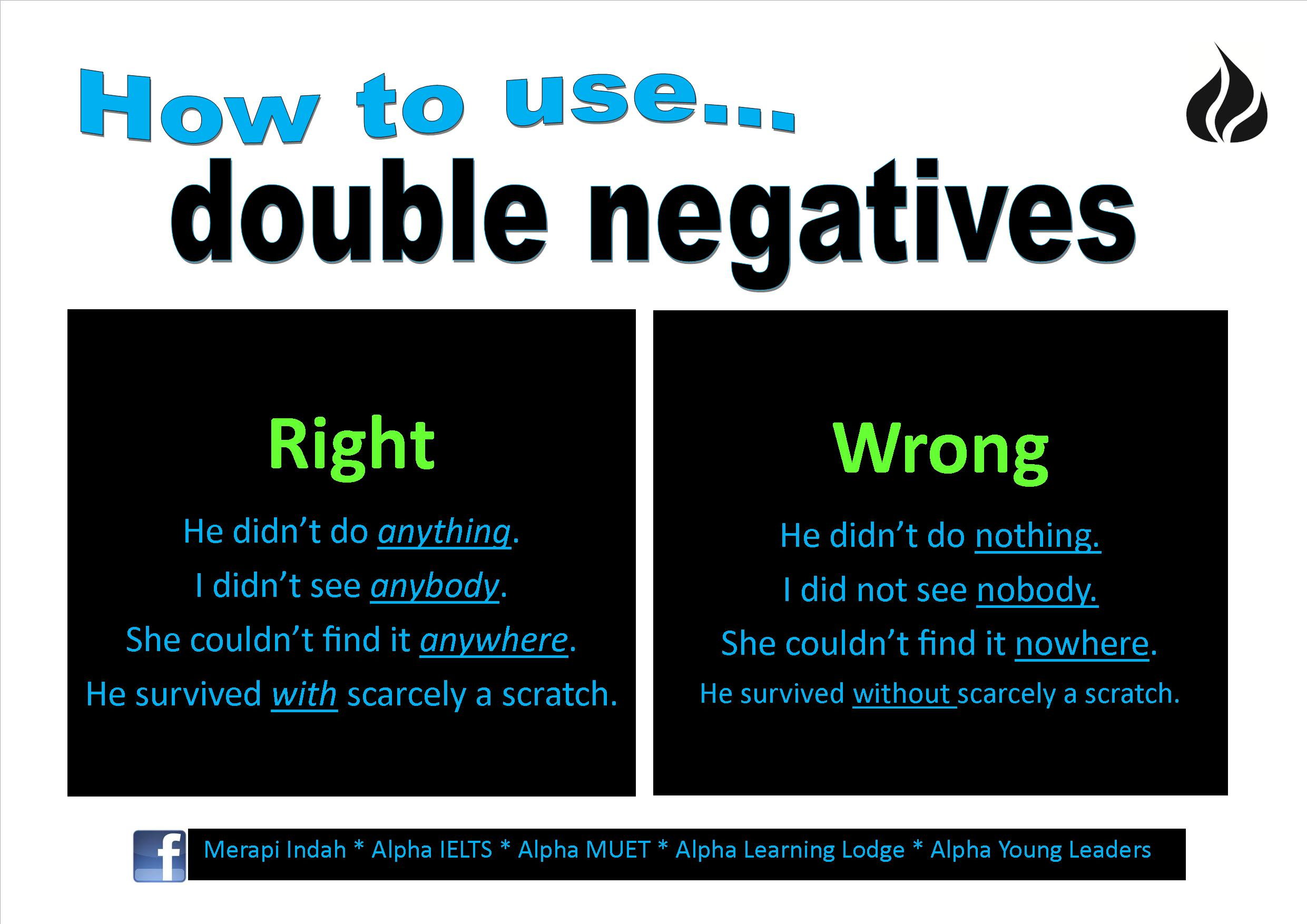 How To Use Double Negatives